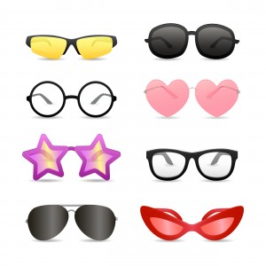 Funny glasses of different shapes. Set of bright eyewear. Can be used for topics like summer, store, retail